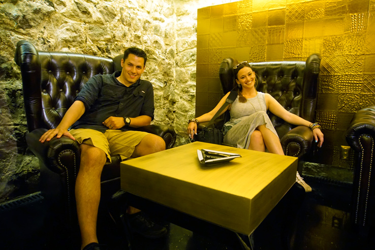 Surviving Europe: Looking Back on our First Year of Living Abroad - Us in Nitra Cigar Bar