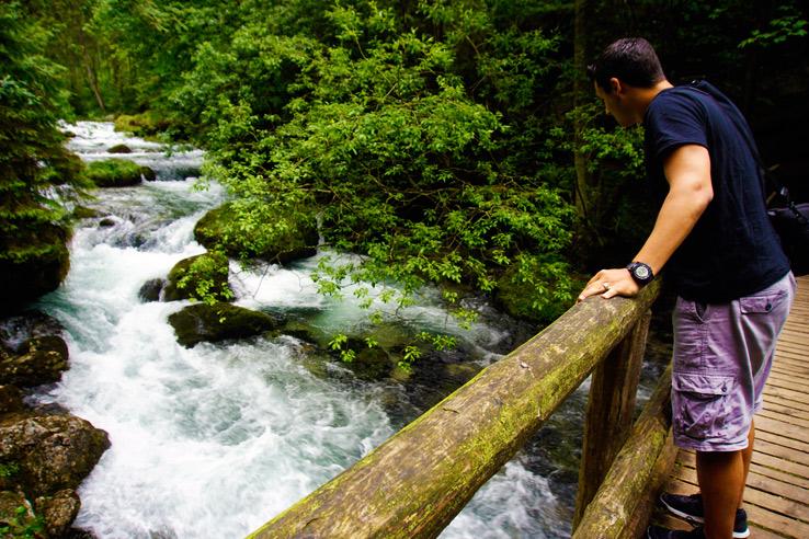 Surviving Europe: Salzburg Day Trips - Finding Paradise at Golling Waterfall - Golling Waterfall Erin on Bridge