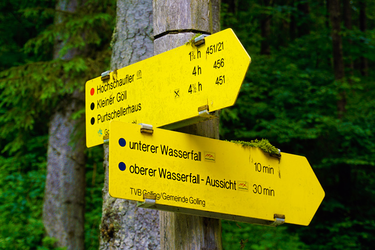 Surviving Europe: Salzburg Day Trips - Finding Paradise at Golling Waterfall - Hiking Signs