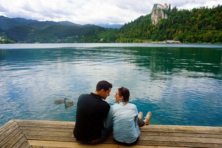 Surviving Europe: 48 Hours Discovering the Best of Ljubljana and Lake Bled - Us at Bled Lake