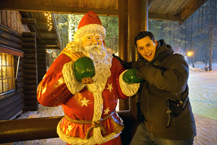 Surviving Europe: We Met Father Christmas at Santa Claus Village in Rovaniemi Finland - Erin and Santa