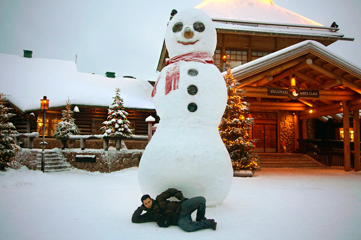 Surviving Europe: We Met Father Christmas at Santa Claus Village in Rovaniemi Finland - Large Snowman
