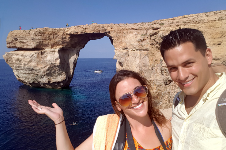 Surviving Europe: In Memory of the Azure Window in Gozo Malta - Selfie at Azure Window