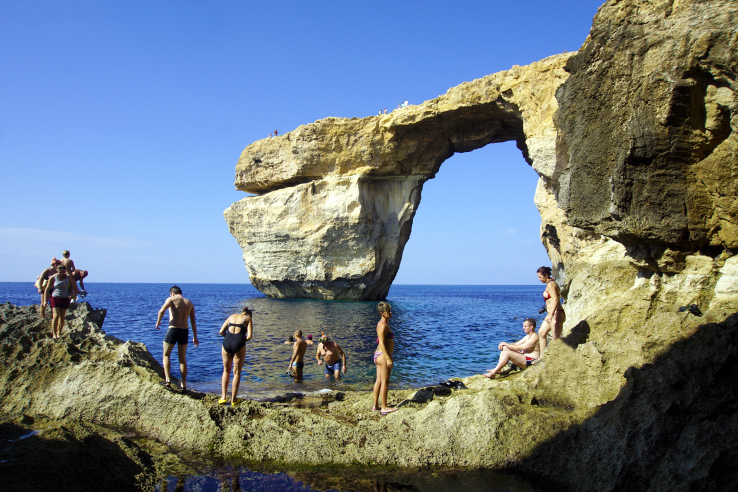 Surviving Europe: In Memory of the Azure Window in Gozo Malta - Azure Window from the Blue Hole