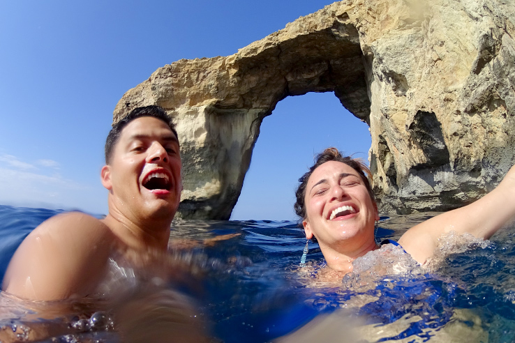 Surviving Europe: In Memory of the Azure Window in Gozo Malta - Selfie of us swimming at the Azure Window