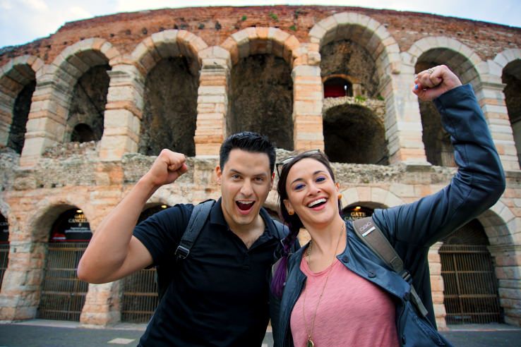 Surviving Europe: Moving Back - Buying Our Return Flight to a New Adventure - Us at the Verona Arena
